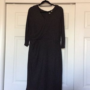 NWT Loft Large Gray 3/4 Sleeve Faux Wrap Top Dress